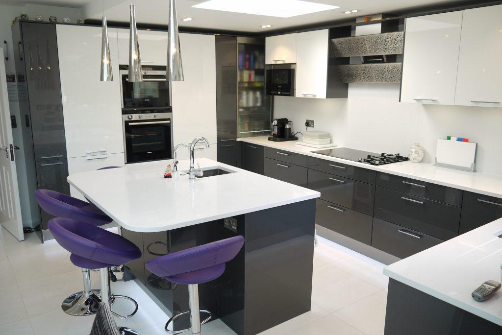 High-Gloss-Modern-CharcoalWhite Kitchen